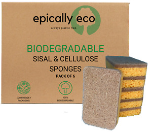 100% Biodegradable & Compostable Kitchen Sponge with Scrub- Eco Friendly (6pack)