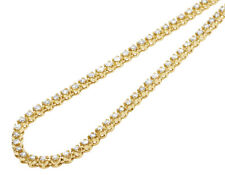 Men's 10K Yellow Gold 1 Row Tennis Choker Toni Set Diamond Chain Necklace 4mm...