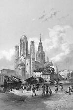 GERMANY View in Mainz Mayance - 1860 Antique Print Engraving