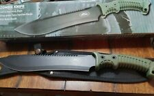 NEW 15.5'' ARMY GREEN MILITARY MACHETE 440 STAINLESS BOWIE SWORD BLACK KNIFE