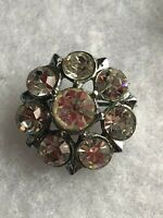 1950s Vintage Brooch Glass Clear Paste Retro Floral Flower Jewelry Jewellery Old