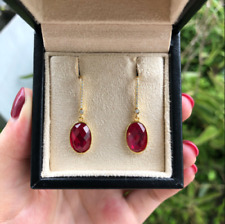 Delicate 5 Ct Oval Cut Red Ruby Drop & Dangle Earrings 14K Yellow Gold Finish.