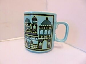 Hornsea Pottery Mug Turquoise with Black Buildings Design 1976