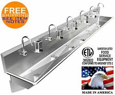 """6 Users 144"""" Multi Hand Sink, Electronic Faucet Stainless Steel (2) 2""""Npt Drain"""