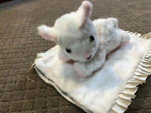 Darling, 1950s vintage, stuffed White & Pink plush, kitty pajama bag
