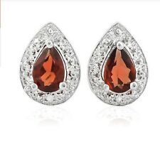 RUBY RED GARNET  EARRINGS SILVER 1 CWT EARTH MINED STONES WHITE GOLD LOOK