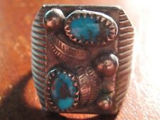Genuine Sterling Silver Turquoise Men's Ring Navajo Large Size 12