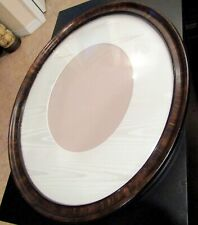 "VINTAGE LARGE  WOOD Oval Convex Glass  PICTURE FRAME & Matt 18"" x 15"""