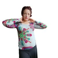DESIGUAL Womens Long Sleeve Cotton Knit Floral Pullover Sweater Top Size Small