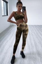 Brown tie dye gym legging set sport yoga running fitness set size SMALL, UK 8