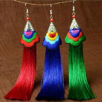 Newly Retro Women Bohemian Vintage Long Tassel Fringe Boho Hook Dangle Earrings