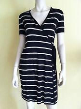 CALVIN KLEIN Jersey Wrap Dress Short Sleeve V-Neck Striped Black Tan 4