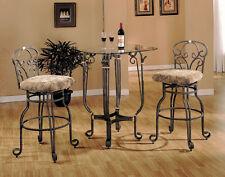 Comtemporary designed SQUARE ROUND BAR TABLE& BRONZE SWIVEL BAR STOOL SET-ASDI