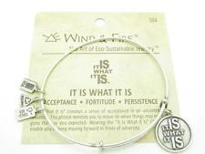Wind and Fire It Is What It Is Charm Wire Bangle Stackable Bracelet Made In USA