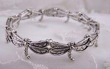 Dragonfly Stretch Bracelet Silver Fashion Jewelry NEW Pretty!