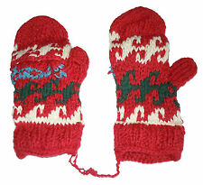 Winter GLITTEN - Red Handmade Natural Pakistani Wool - Flap Glove Mitten B7