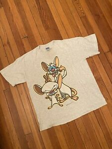 VINTAGE 1996 Pinky and the Brain Animaniacs Giant by Tultex T-Shirt Size XL