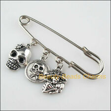 2Pcs Handmade Halloween Skull Charms Safety Pin Brooch Tibetan Silver Tone