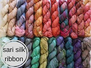 sari silk ribbons, 40m recycled raw edge fibre, weaving macrame macra weave