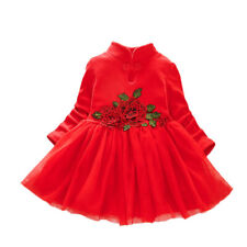 Kids Girls Princess Floral Dress Toddler Winter Fall Long Sleeve Party Dresses