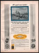 1940 BRISTOL No. 52, 47 Rod 55A Fly, 88 Casting Reel Vintage Antique Fishing AD
