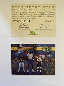 1992 Classic Four 4 Sport GOLD Set, #8164/9500 SHAQUILLE O'NEAL AUTO SHAQ, JETER