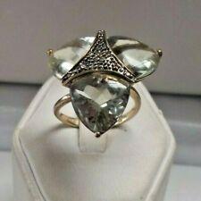 Green PRASIOLITE Trillion & Chocolate Diamond Cluster 10K GOLD *CUSTOM RING!