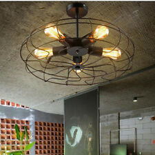 Vintage Industrial Ceiling Light Pendant Lamp Chandeliers Metal Fan Cage Fixture