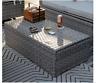 Outdoor Gray Wicker Patio Coffee Table Storage Rectangular Pool Deck Furniture