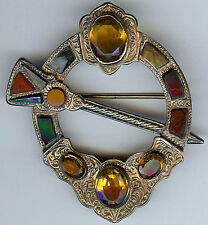 HANDSOME ANTIQUE VICTORIAN SCOTTISH AGATE CAIRNGORM SILVER PENANNULAR STYLE PIN