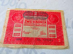 Banconota Deutsch-Òsterreichische 2 Kronen Bank 1912