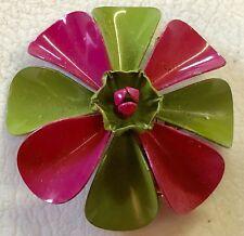 Vintage Retro Mod FLOWER POWER Daisies 60's Enamel Brooch Jewelry Pin Daisy Rare