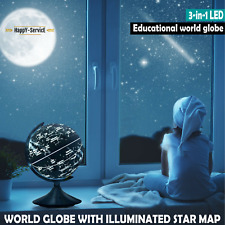 "9"" Illuminated World Globe with Stand Built in 3-in-1 LED Night View Toy Gift"