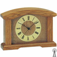 AMS 5138/4 Tischuhr Kaminuhr Funk Holz Eiche massiv mit Glas Funktischuhr