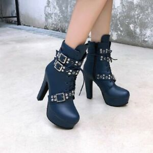 Womens High Block Heels Rivets Buckle Strap Ankle Knight Boots Zip Shoes Big SZ