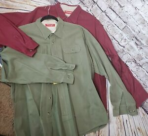 Wrangler Men's 2 Lot 2XL Green Red Long Sleeve Western Heavy 100% Cotton Shirts