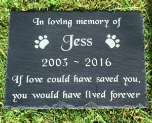 Personalised Pet Memorial Slate Headstone Grave Marker Plaque Dog Cat All Sizes