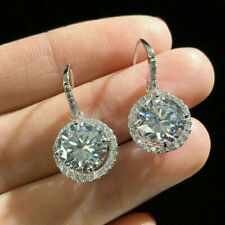4Ct Round Cut Moissanite Drop & Dangle Halo Stud Earrings 14K White Gold Finish