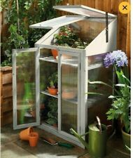 Small Grey Natural Wooden Greenhouse - 3 Tier Cold Frame (69 x 49 x 120cm)