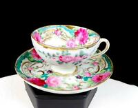 """JAPANESE ANTIQUE PORCELAIN ROSE AND GOLD 1 3/4"""" DEMITASSE FOOTED CUP AND SAUCER"""
