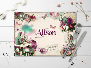 Personalised Alice in Wonderland Mulberry Laminated Table Place Mat - Any Name