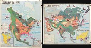 1960 Anscombre Pictorial Map of Economic Production of N. America and Asia