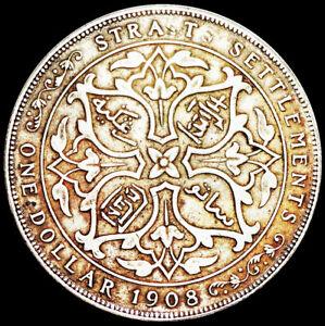 STRAITS SETTLEMENTS - BRITISH COLONY - EDWARD VII - ONE DOLLAR 1908 SILVER  #A24