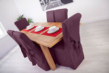 Set of 4 Purple Fabric Dining Chair Covers for Scroll Top High Back Leather