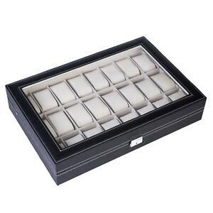 24 Slot Men Watch Box Leather Display Case Organizer Top Glass Jewelry Storage