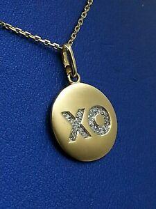 14K Yellow Gold, Pendant, Charm, XO Design In Diamonds.