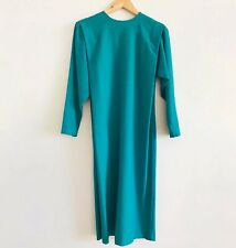 Vintage Teal Blue Green Long Sleeve Midi Dress 70s 80s Structured Shoulder