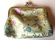 Beautiful Soft Green Embroidered Chinese Silk Coin Snap Purse