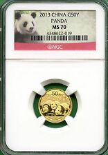 CHINA  PANDA 2013   NGC MS 70  1/10 OZ  GOLD  50 YUAN