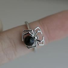 Fashion Spider Women 925 Silver Wedding Ring Round Cut Black Pearl Ring Size 6